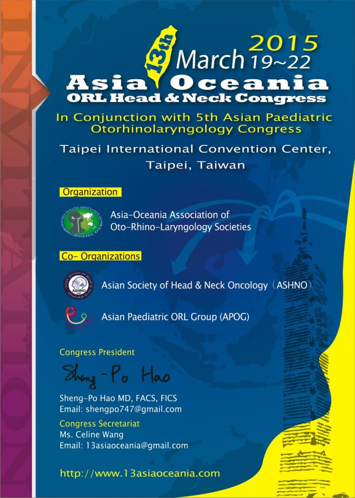 13th asia-oceania ORL-HNS congress